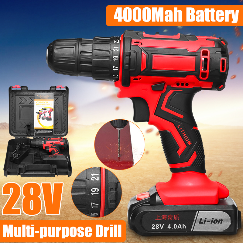 28V 48Nm Electric Drill Two Speed Lithium Battery Rechargeable Cordless Drill Multi-function Electric Cordless Screwdriver28V 48Nm Electric Drill Two Speed Lithium Battery Rechargeable Cordless Drill Multi-function Electric Cordless Screwdriver