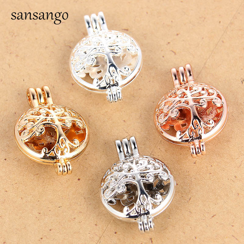 10pcs Pearl Beads Cage Silver Plated 2018 Locket Pendant Oil Diffuser 36*12MM