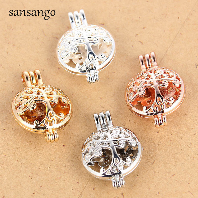 4 Pcs Golden Silver Plated Tree Of Life Necklace Pendant For Copper Locket Pearl Cage Bracelet Charm For Diffuser Jewelry