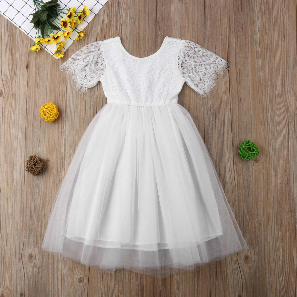 0e16cb183fb60 2019 Brand New 2-7Y Girls Princess Gown Dress Kids Elegant Party Clothes  Lace Solid Ankle Length Pageant Bridesmaid Tutu Dresses