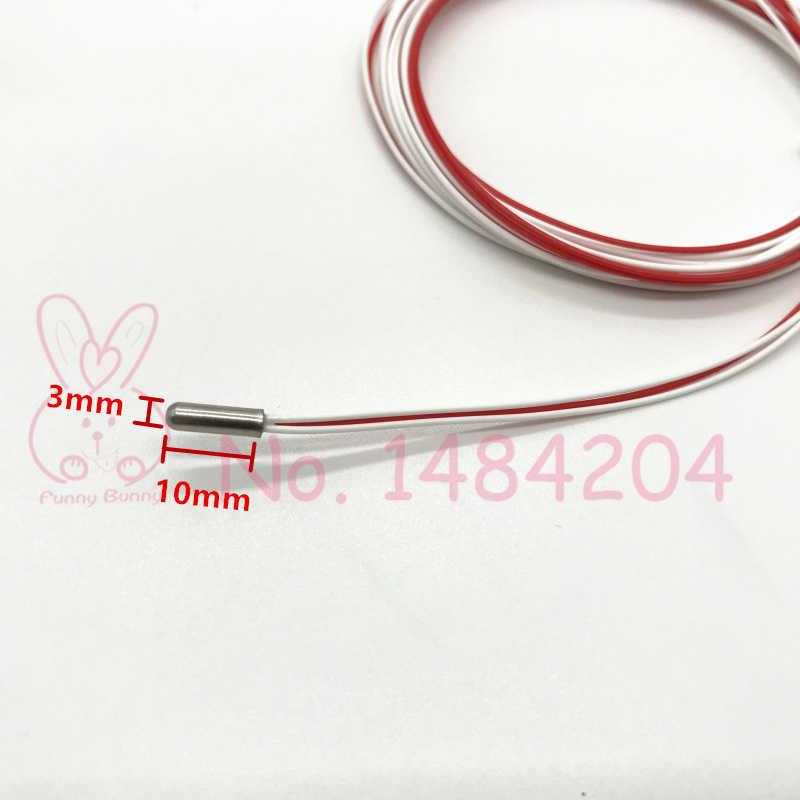 3 kawat Pt100 Mini Probe 3mm * 10mm Suhu Sensor Panjang Kabel 500mm / 2m Termal ketahanan Detector