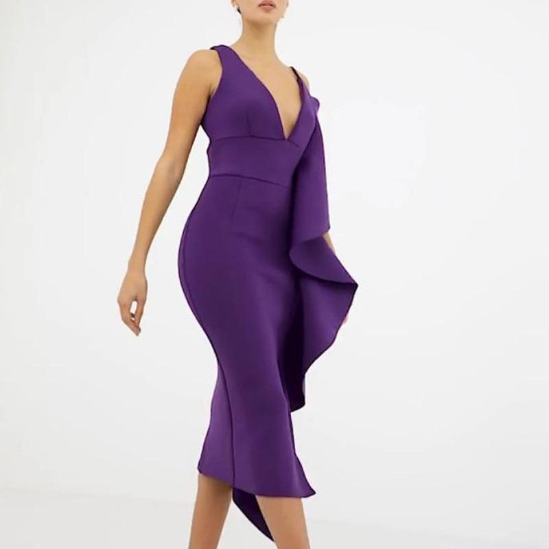 Spring Women Summer Bodycon Ruffles Dress V Neck Spaghetti Strap Dress Vestidos Cute Mid Evening Party Dress in Dresses from Women 39 s Clothing