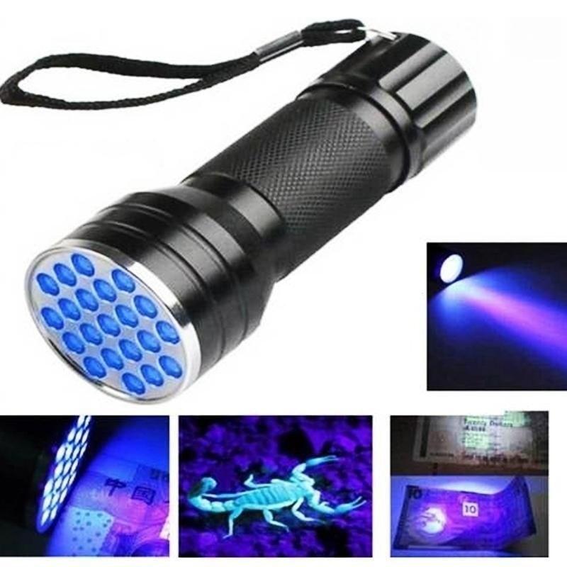 UV Ultra Violet 21 LED Flashlight Blacklight Aluminum Torch Light Lamp