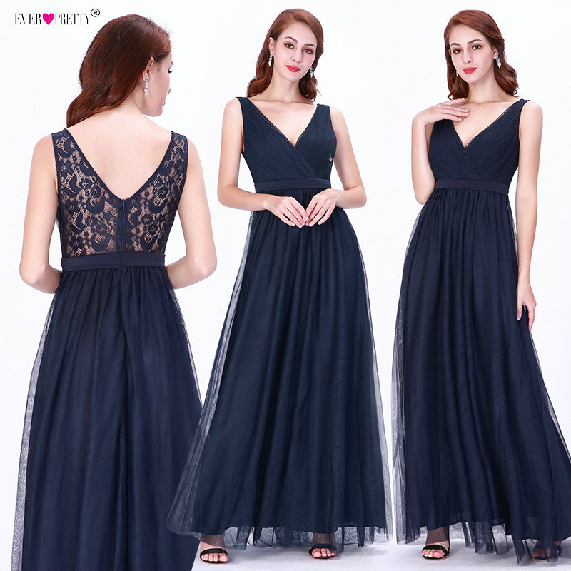 Navy Blue   Bridesmaid     Dresses   Ever Pretty EZ07602 Women Elegant Lace V-neck A-line Sleeveless Tulle Sexy 2018 Wedding Guest Gowns