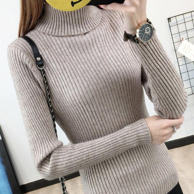 Peonfly tejer suéteres suéter chompas de lana para cuello alto manga larga jerseys de vestido invierno sweter chaqueta jerseis mujer de las mujeres de color sólido casual engrosamiento de ropa femenina blusas jumpers 2