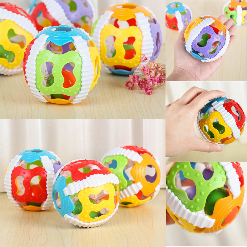 PUDCOCO Baby Musical Hollow Out Color Ball Hand Rattle Baby Infant Educational Toys