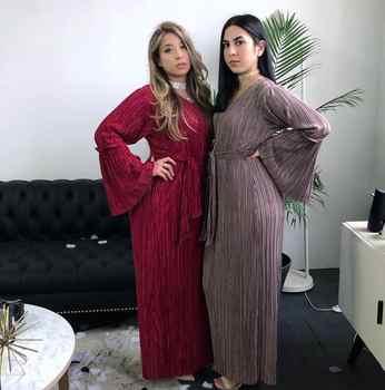 Muslim Women Pleated Dress Robe Slim Belt Abaya Bell Sleeve Maxi Kaftan Gown Fashion Cocktail Party Dress Arab Islamic Clothing - DISCOUNT ITEM  40% OFF All Category