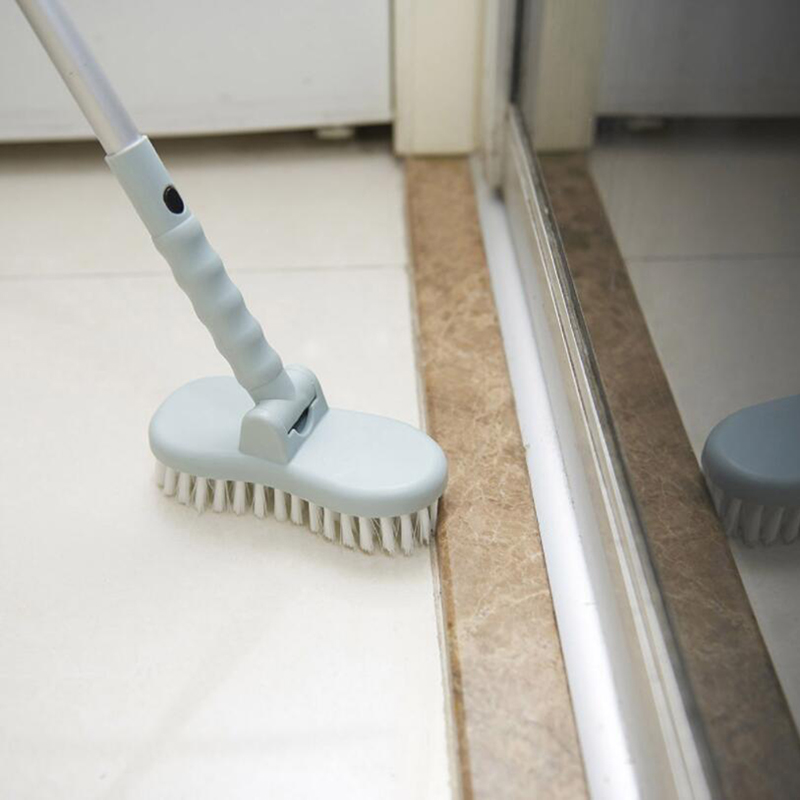 2 In 1 Long Handled Retractable Bristle Floor Cleaning