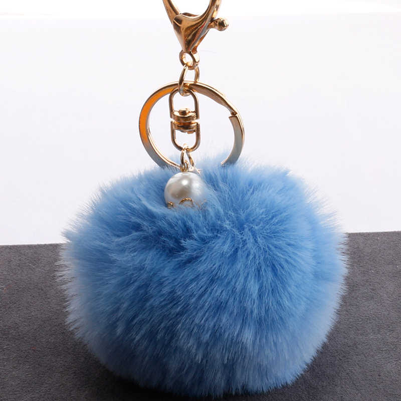 Мягкий пушистый мех кролика мяч цепь с ключом помпон Сумочка автомобиль кольцо для ключей для девочек сумки украшения пушистый помпон плюшевые игрушки шары 8 см 20 видов цветов