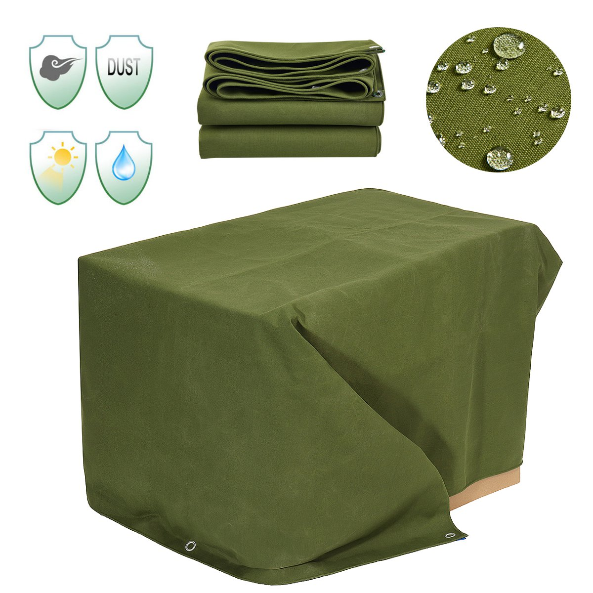 Toile lourde parasol tissu auvent 6x8FT bâche imperméable à l'eau bâche anti-poussière coupe-vent abri extérieur auvent accessoires