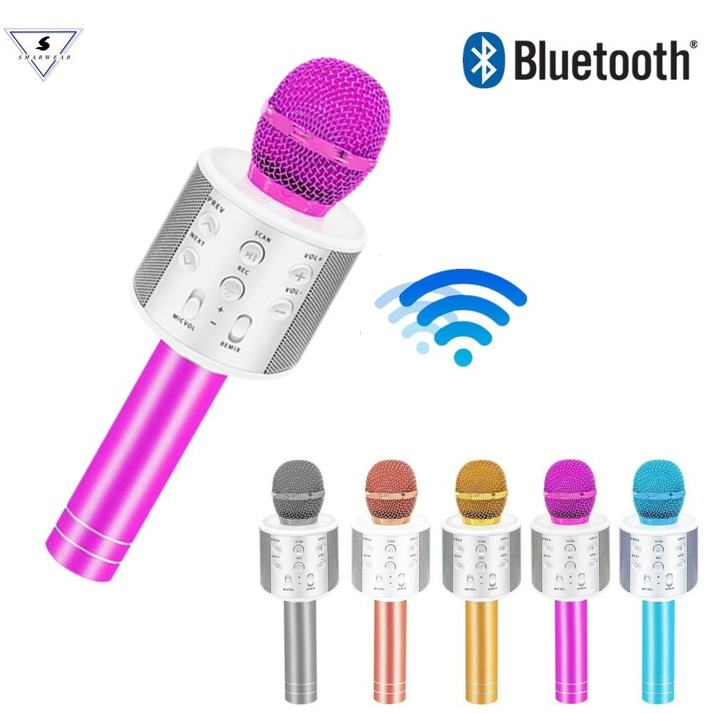 New Ssmarwear WS858 Fashion Bluetooth Wireless Condenser Magic Karaoke Microphone Mobile Phone Player MIC Speaker Record Music