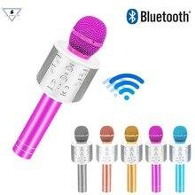 Nova ssmarwear ws858 moda bluetooth condensador sem fio magia karaoke microfone do telefone móvel player microfone alto falante gravação música