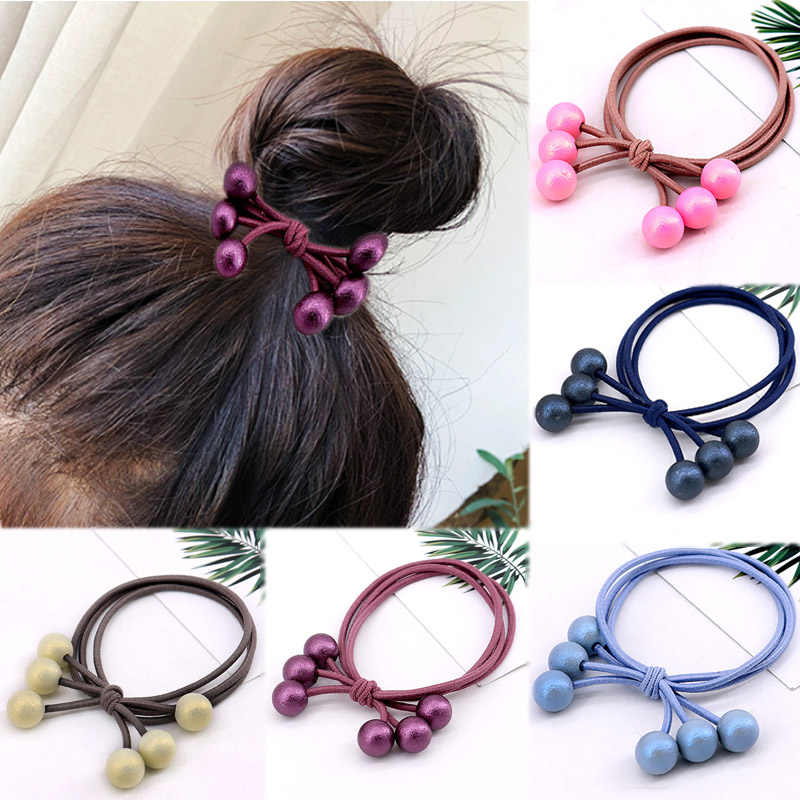 1PC/3PCS Fashion Hair Holders Rubber Band Adjustable Hair Accessories Bead Elastic Ponytail Tie Gum Multicolor Pearls Hair Rope