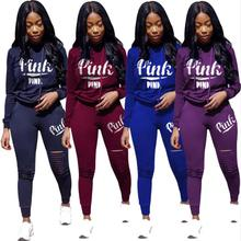 ELSVIOS lady Tracksuit Autumn 2Pcs Women Hoodies Pants Animal Print long sleeve
