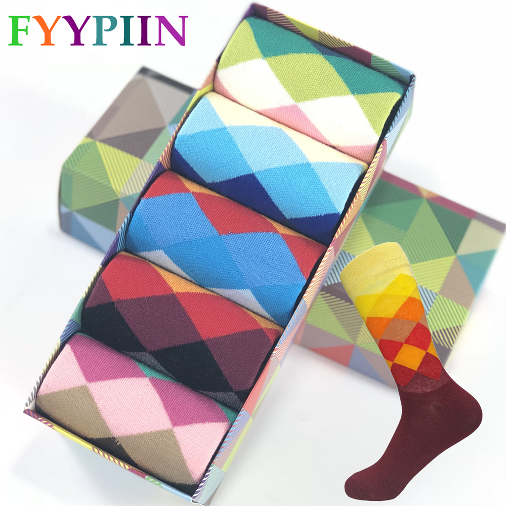 New Standard Increase Size 39-47 Casual Cotton Socks High Quality Brand Men Socks, Colorful Socks (5 Pairs / Batch) No Box