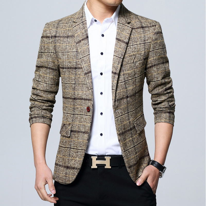 Suit Jacket Men Blazer Male Casual Fashion Spring Slim Brand Clothing Size-M-5xl New-Arrival