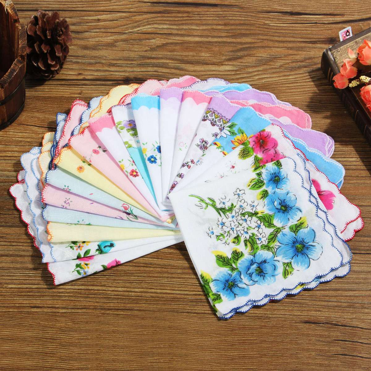 New 50x Flower Handkerchiefs Various Cotton Vintage Hankies Floral Lady Women Style Gift 28x28cm