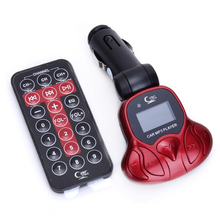 Compact Plug and Play MP3 Player Wireless FM Brodcast Modulator + Remote Control 1G TF Card Car Electronics Audio Kit Red