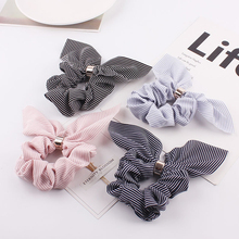 цены на Cute Rabbit Ear Striped Hair Accessories Elastic Hair Band Hair Rope For Women Girls Rubber Band Tie Hair Scrunchies  в интернет-магазинах