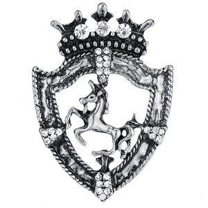 Image 5 - Винтажная Защитная брошь лошадь, 10 шт., золотое, серебряное, античный мужской костюм, Значки из горного хрусталя, аксессуары для украшения коричневой ленты
