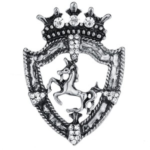 Image 5 - 10pcs Vintage Shield Horse Brooch Gold Silver Ancient Male Suit Rhinestone Badges Clothes Browband decoration Pin Accessories