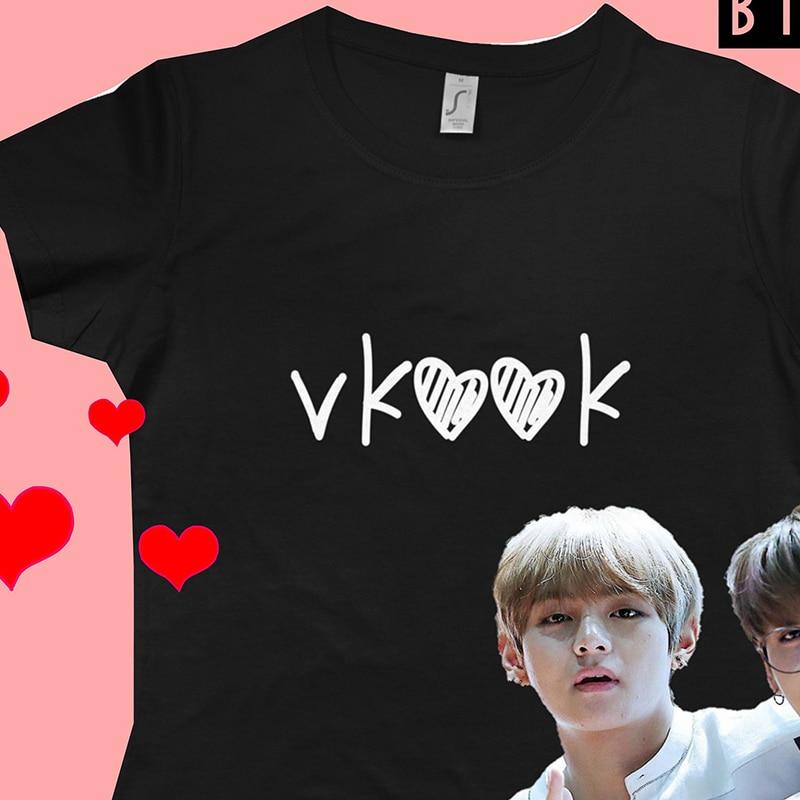 Vkook Taekook T-Shirt Women  Jungkook V Taehyung Kookie Merchandise  Clothing  Hoseok Korean Clothes Drop Ship