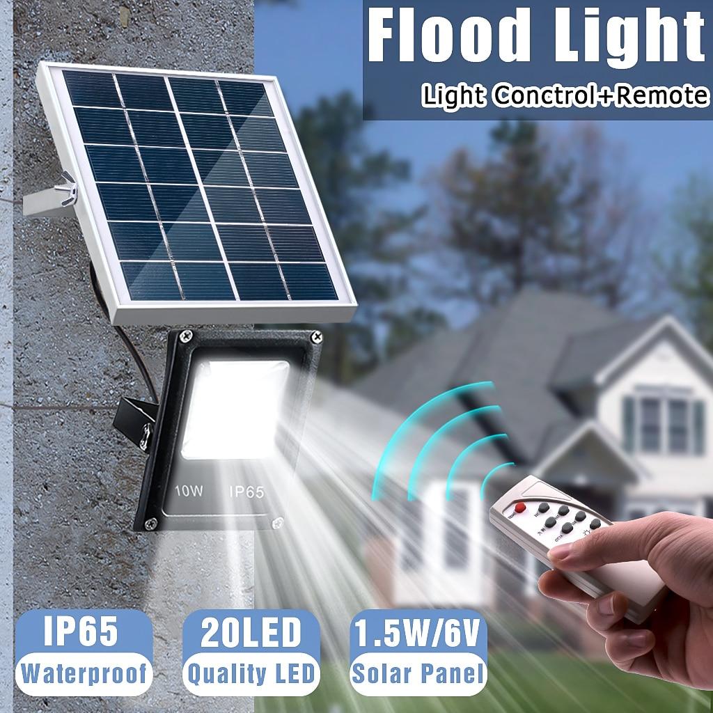 Mising Waterproof Solar Floodlights 10W Remote Control + Timer + Lighting Control Outdoor Lighting  LED Spotlight Garden Lamp