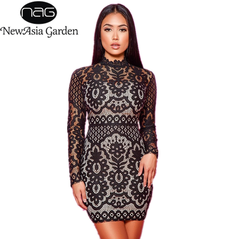 NewAsia Black Rose Lace Short Dress Women Long-sleeved Winter Dress Tight  Bodycon Dress Elegant. Mouse over to zoom in 56796c04b748