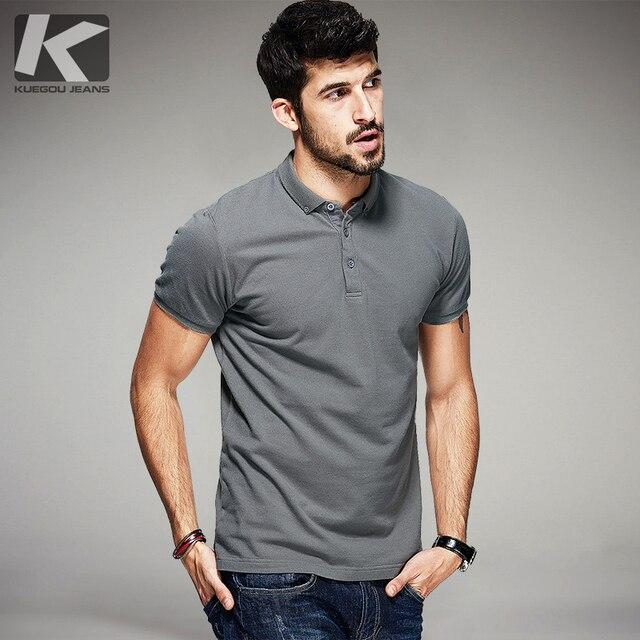 Verão Dos Homens 100% Algodão Camisas Polo Preto Branco Cor Cinza Marca de  Vestuário Para 0e11812706afd