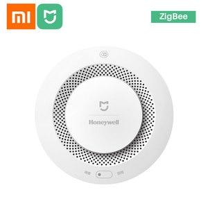 Xiaomi mijia honeywell alarme de incêndio detector de fumaça sensor sonoro visual alarme notice trabalho com mi casa app por telefone