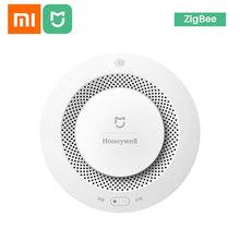 Xiaomi Mijia Honeywell-Alarm pożarowy sygnał dźwiękowy i wizualny czujnik dymu współpraca z aplikacją Mi Home na telefonie tanie tanio CN (pochodzenie) Xiaomi Mijia Honeywell Fire Alarm Detector Czujka dymu xiaomi smoke detector