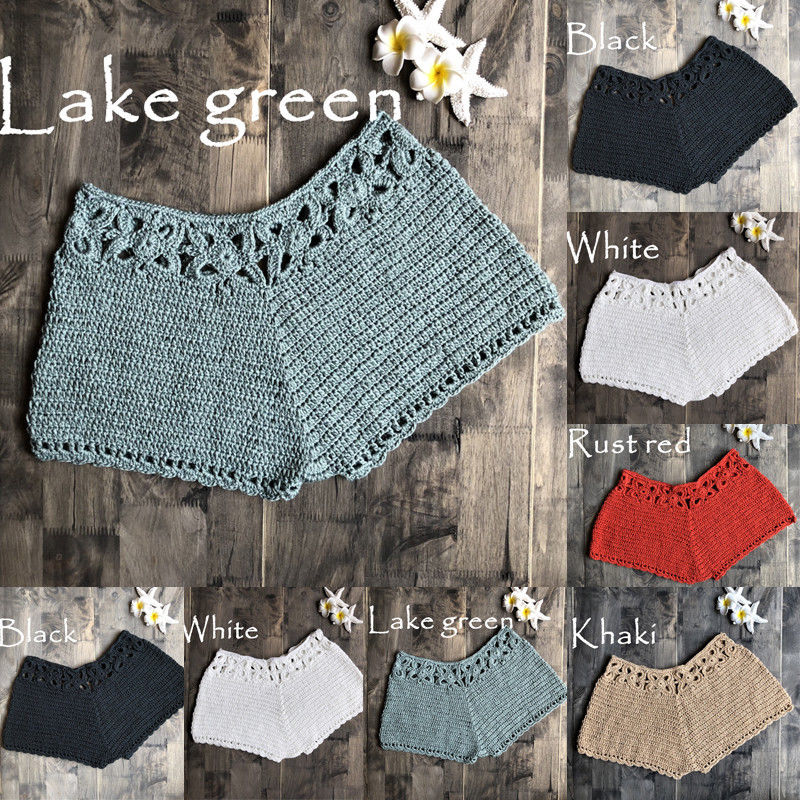 New Fashion Summer Beach Style Womens Lady   Shorts   Casual Mini Sexy Knitted Hollow Out Solid Skinny Elastic Waist Cotton