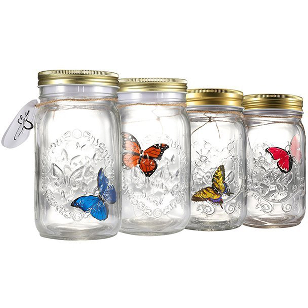 Novelty Light Butterfly Jar With Lamp Romantic Glass LED Lamp Butterfly In A Jar Valentine Children Gift Home Decoration CF