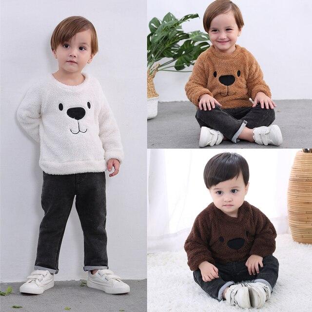 2019 New Cute Bear Kids Baby Girl Boy Plus Velvet Bear Top Blouse Sweater Sweatshirt Thick Warm Clothes 1-5T