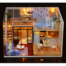 Doll House Cute Room L-023 Blue Time DIY With Furniture Music Light Cover Miniature Model Gift Decor Toys For Childern