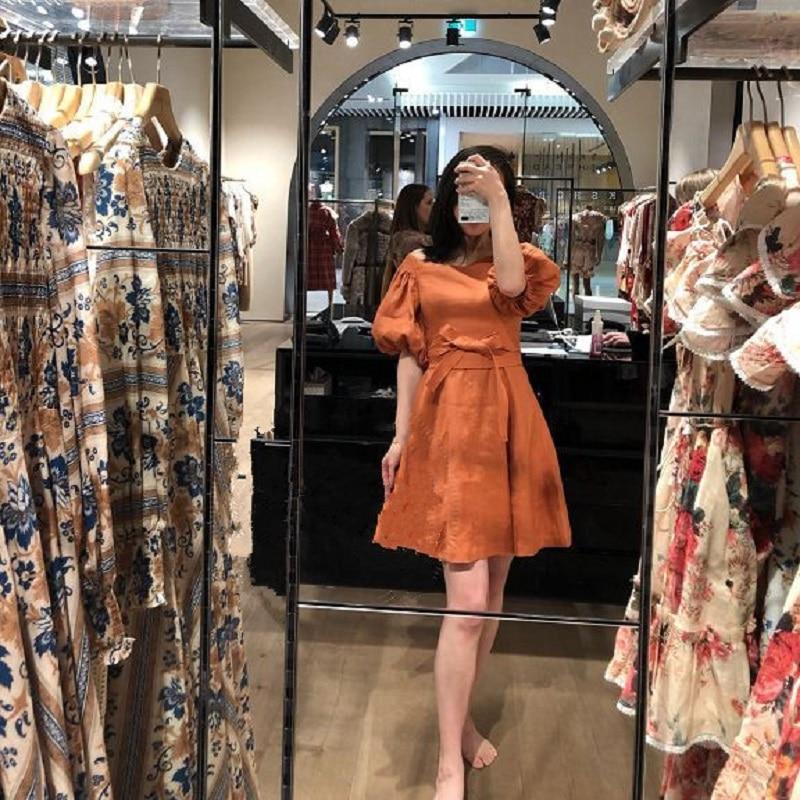 2018 Winter Elegant Orange Women Mini Dress Runway Designer Vintage Lantern Sleeve Tunic Ladies Party Short Dresses Clothing