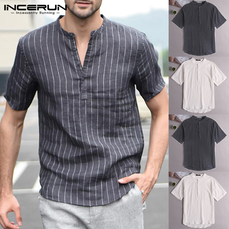 Fashion Men Pullover Shirts Short Sleeve Striped V-Neck Men Casual Shirt Slim Fit Cotton Shirt Dress Hombre Camisa Men Clothes