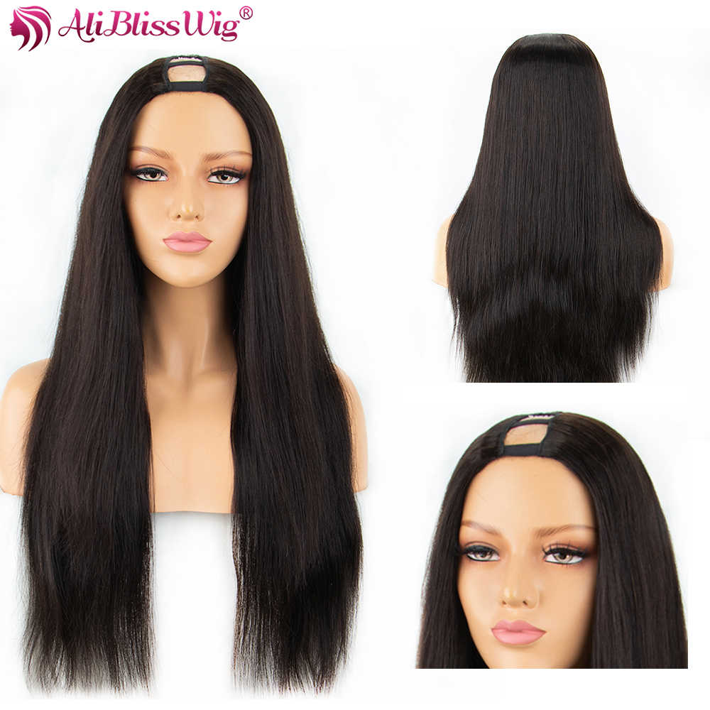 250% Density Straight U Part Wigs For Black Women Middle Part Human Hair wigs Brazilian Remy Hair Wigs Full End Aliblisswig