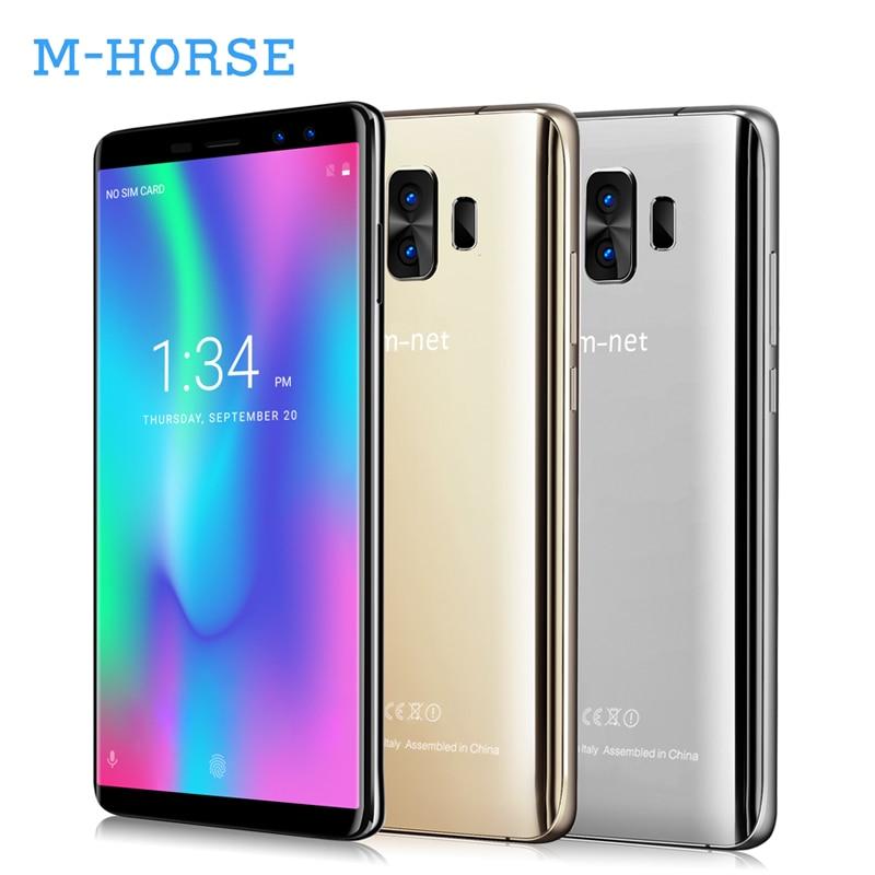 M-HORSE pur 1 4G 18:9 Smartphone 5.7 pouces plein écran téléphone Mobile Android 7.0 Quad Core 2 GB + 16 GB 4380 mAh 4 caméras téléphone portable