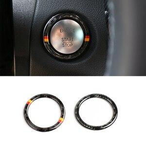 Image 2 - Dla Mercedes Benz C E klasa W205 W213 C180 C200 C300 GLC z włókna węglowego przycisk uruchamiający/wyłączający silnik samochodu przycisk pierścień kluczyka zapłonu pokrywa