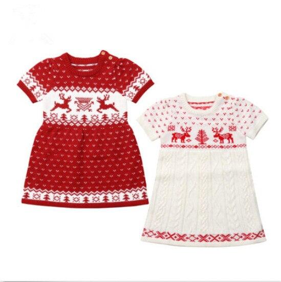 36e049a57a3e FOCUSNORM Christmas Knitting Baby Girl Dress Cartoon Deer Print Wool ...