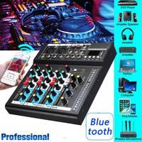 4 канала 48 V USB Портативный DJ микшер bluetooth для студий с живым звуком Аудио Звук микшерный пульт контроллер для караоке ktv матч вечерние DVD