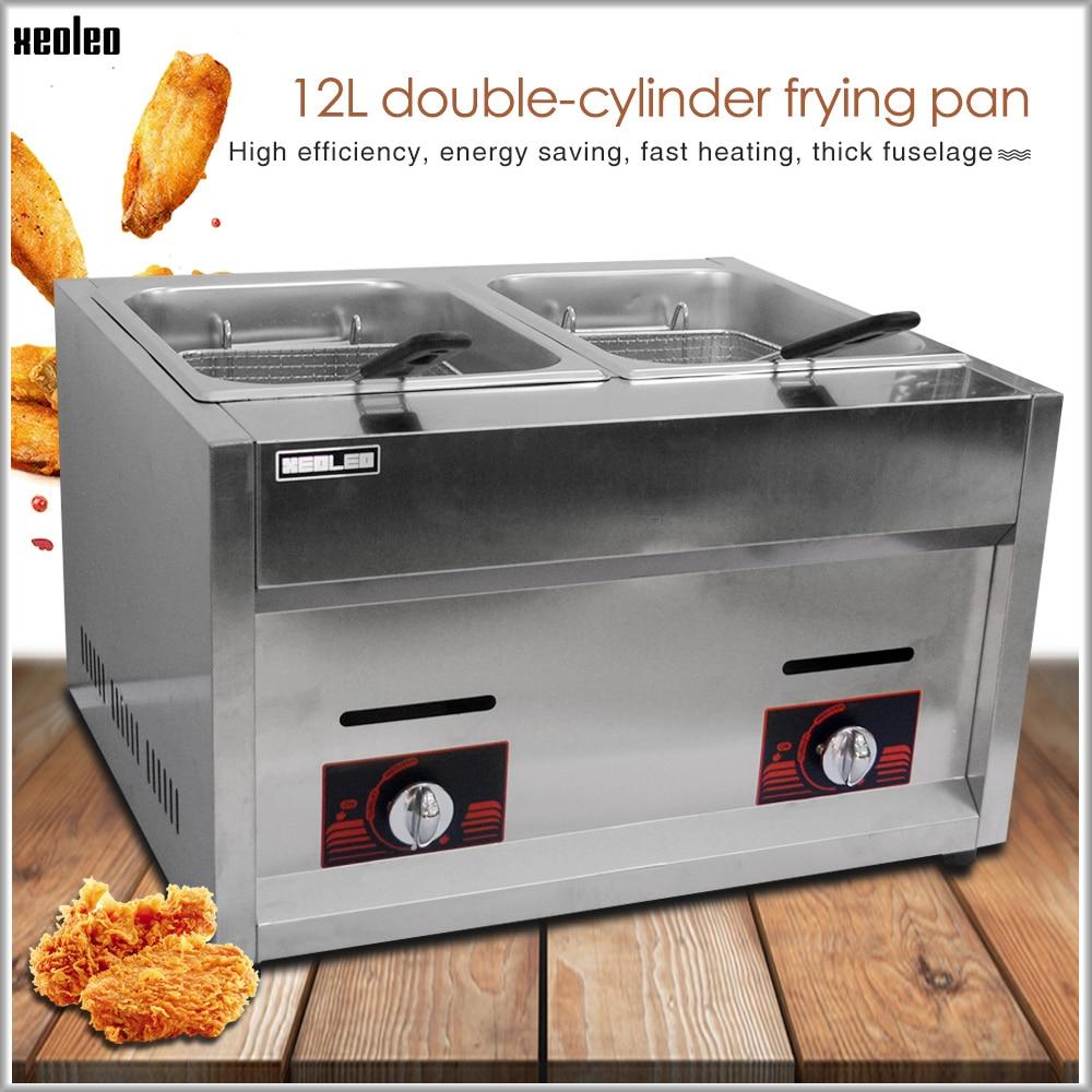 XEOLEO Stainless Steel Fryer Multi function Commercial Fryer 12L Double Cylinder Double Screen Gas Fryer Fried