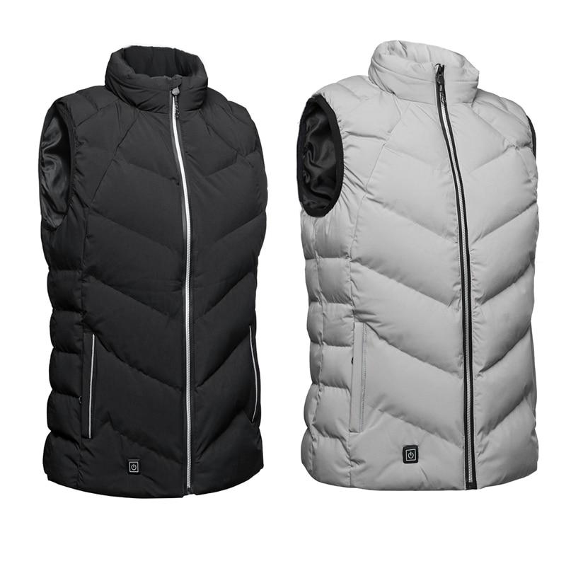 Hot Selling Black/Gray Men Outdoor USB Infrared Heating Vest Jacket Winter Carbon Fiber Electric Thermal Clothing Waistcoat цена в Москве и Питере