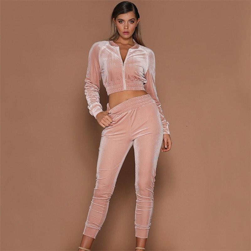 2PCS 2019 Fashion Women Sets Clothes Sweatshirt Pants Sets Velvet Tracksuit Velour Smooth Soft Suit Sunsuit Clothings Outfits