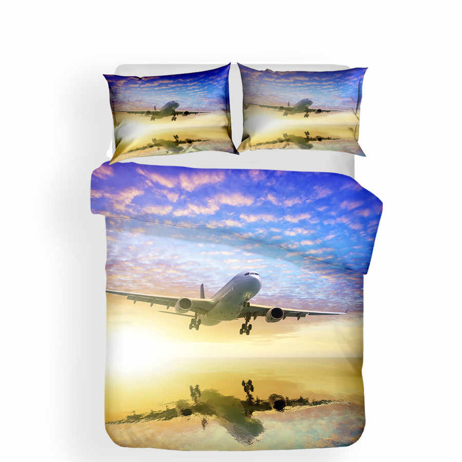 Bedding Set 3D Printed Duvet Cover Bed Set Sea Aircraft Home Textiles for Adults Bedclothes with Pillowcase #HL26