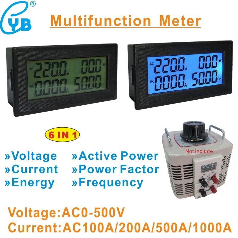 Yb5141dm ac 100a 200a 500a lcd digital voltímetro amperímetro ac tensão corrente medidor de frequência energia ac 0-500 v monofásica variac