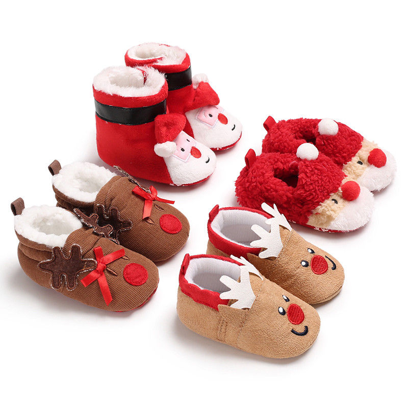 Christmas Newborn Baby First Walk Shoes Girl Boy Soft Anti-slip Shoes Xmas Deer Santa Claus Cute Baby Shoes Toddler Shoes