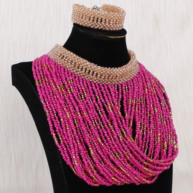 Dudo Jewelry Bridal Wedding Sets Sea Blue and White Tassel Handmade Bridal Necklace 3 PCS African Nigerian Beads Set free Ship