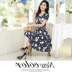 2019 new Plus Size Summer Slim Thin Sexy Short Sleeve Dress Lady Print Floral Dress women clothes 4